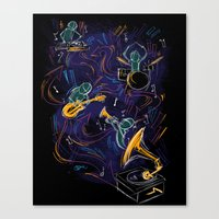 Two Turntables And A Gra… Canvas Print
