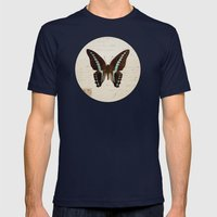 Blue Spotted Butterfly Mens Fitted Tee Navy SMALL
