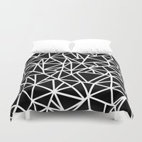 Abstract Outline Thick White on Black Duvet Cover