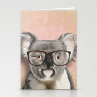 Funny koala with glasses Stationery Cards