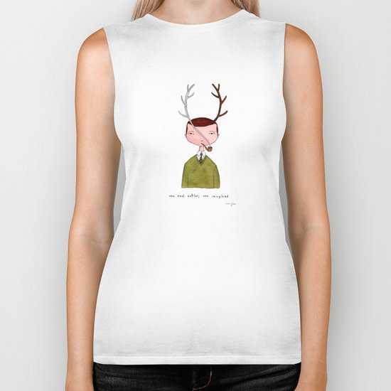 One real antler, one imagined Biker Tank