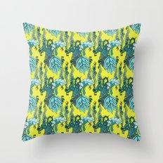 Jamaican Botanicals - Green Throw Pillow