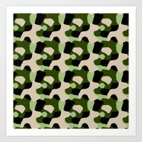Green Camo Pattern Art Print