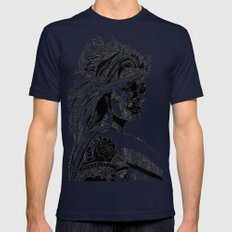 B&W Fashion Illustration - Wilko Johnson Mens Fitted Tee Navy SMALL