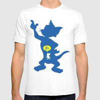 Tom & Jerry Mens Fitted Tee White SMALL