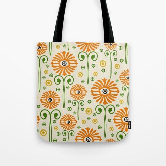 Retro Sunflower Pattern - Susan Weller Tote Bag