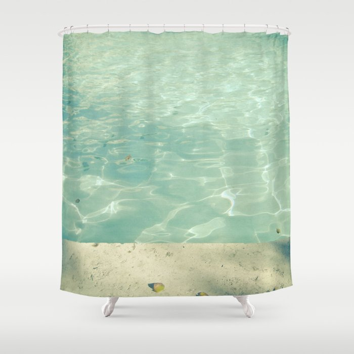 Morning swim shower curtain by cassia beck society6 Swimming pool shower curtain