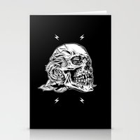 Skullflower Black And Wh… Stationery Cards