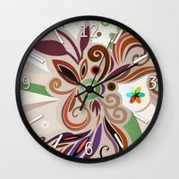 Floral curves Wall Clock
