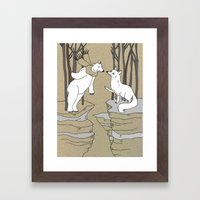 Arctic fox and Polar bear, Romeo and Juliet Framed Art Print