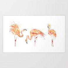 Flamingos Series - Flamingo Dance III Art Print