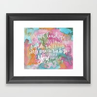 Spirit Lead Me - Inspirational Quote with pink flowers Framed Art Print