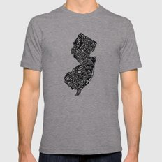 Typographic New Jersey Mens Fitted Tee Athletic Grey SMALL