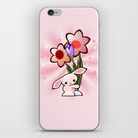 Little Pink Bunny With Flowers iPhone & iPod Skin