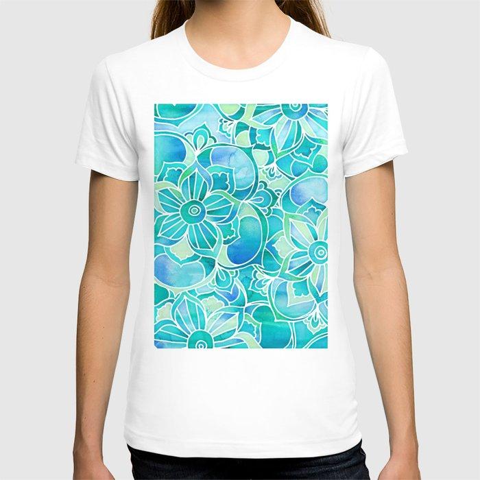 Aqua emerald blue turquoise mint green floral for Aqua blue color t shirt