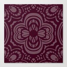 Four-leaf Clover Lace: Burgundy Canvas Print