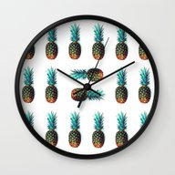 Wall Clock featuring Tri Soldier Pineapples by Lillyan