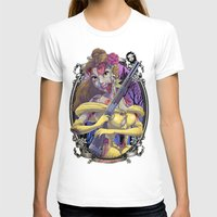 Zombie Beauty and the Beast Womens Fitted Tee White SMALL