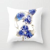 Oiseaux Bleu Throw Pillow