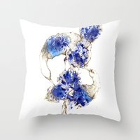 Oiseaux Bleu Throw Pillow