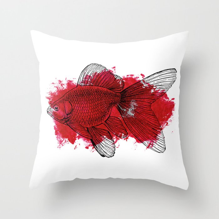 Big Red Throw Pillows : big red fish Throw Pillow by Candy Gun Society6