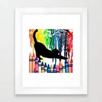 The cat got into the crayons Framed Art Print
