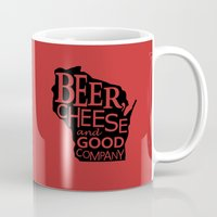 Red and Black Beer, Cheese and Good Company Wisconsin Graphic Mug