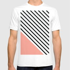 Diagonal Block - Pink White Mens Fitted Tee SMALL