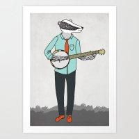 Banjo Badger Art Print
