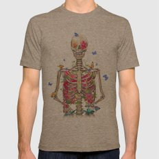 Blooming Skeleton On The… Mens Fitted Tee Tri-Coffee SMALL