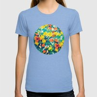 FLOWERS Womens Fitted Tee Tri-Blue SMALL