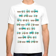 Tractors on white SMALL Mens Fitted Tee White
