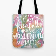 Fearfully and Wonderfully Made - Watercolor Scripture by Misty Diller Tote Bag