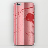 Red stripes on grunge pink background iPhone & iPod Skin