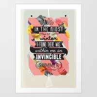 typography Art Prints featuring The Invincible Summer by Kavan and Co