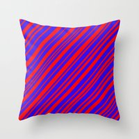 Lines 323 - Blue and Red Diagonals Throw Pillow