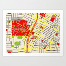Map design of the University of southern California, LA Art Print