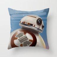 BB8 Vintage Poster Throw Pillow