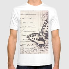 postal butterfly {b&w White Mens Fitted Tee SMALL