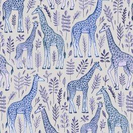 Art Print - Blue Giraffe Pattern - micklyn