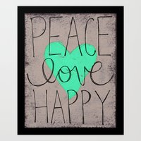 Peace Love Happy Art Print