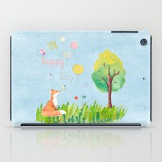 Fox- oh happy day on blue  iPad Case