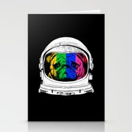 Stationery Cards featuring Astronaut Pug by Huebucket