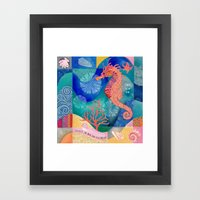 Seahorse collage Framed Art Print