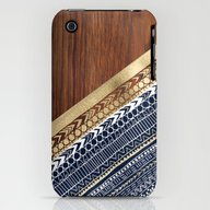 Navy & Gold Tribal On Wo… iPhone (3g, 3gs) Slim Case