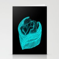 Angels Kissing in green and black design Stationery Cards