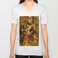 Woman In Forest Unisex V-Neck
