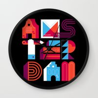 Postcards from Amsterdam / Typography Wall Clock