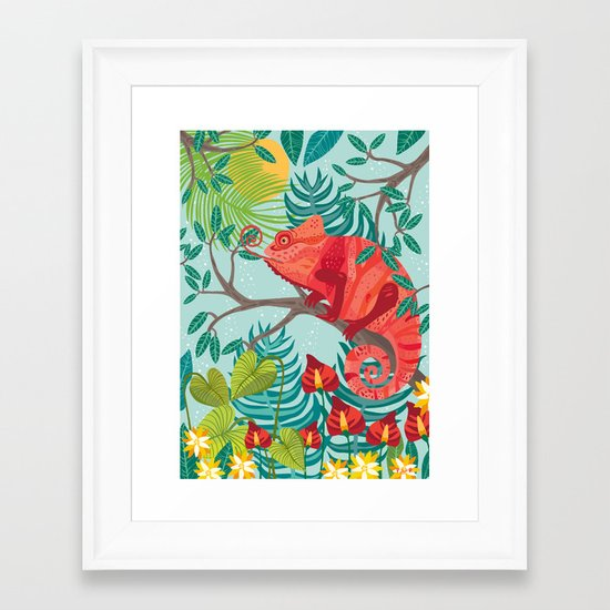 The Red Chameleon  Framed Art Print