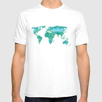 Watercolor World Map Mens Fitted Tee White SMALL